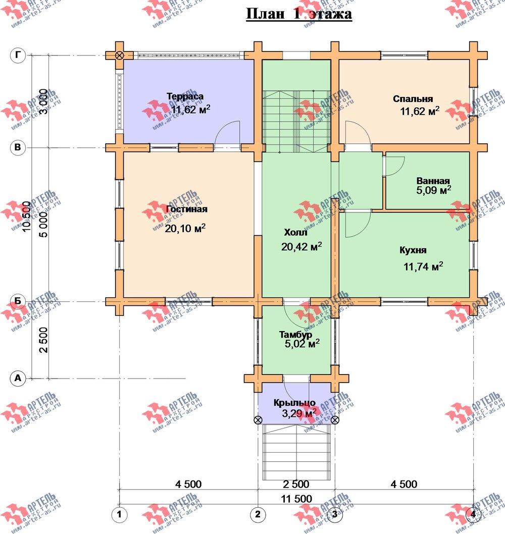 двухэтажный дом из оцилиндрованного бревна площадью от 100 до 150 кв. м. с  террасой, проект Вариант 6 фотография 3097