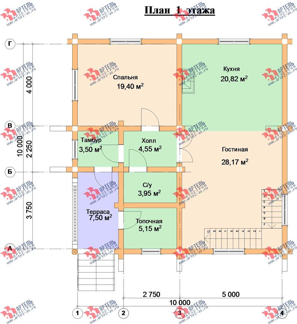 трёхэтажный дом из оцилиндрованного бревна площадью свыше 200 кв. м. с  балконом, террасой, проект Вариант 5 фотография 3085