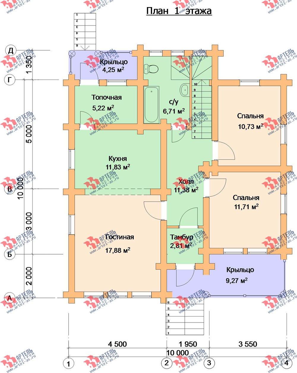 двухэтажный дом из оцилиндрованного бревна площадью от 150 до 200 кв. м. с  мансардой, проект Вариант 7 фотография 3108