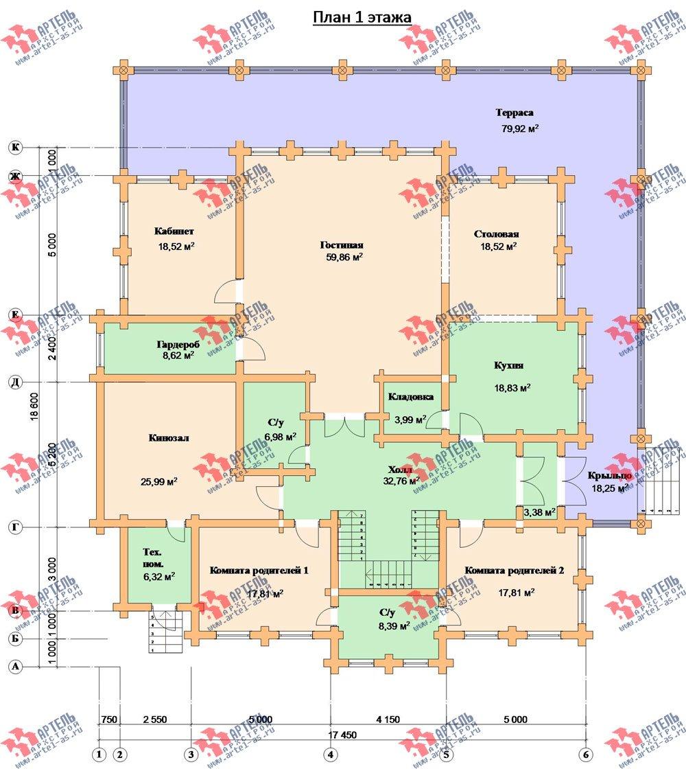 двухэтажный дом из оцилиндрованного бревна площадью свыше 200 кв. м. с  террасой, проект Вариант 8 фотография 3120