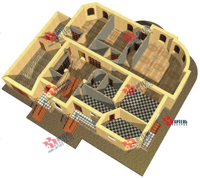 двухэтажный дом из камня площадью свыше 200 кв. м. с  балконом, гаражом, эркером, проект Вариант 6 фотография 503