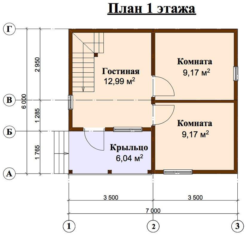 двухэтажный дом из профилированного бруса площадью до 100 кв. м. с  мансардой, проект Вариант 6 Д фотография 4442