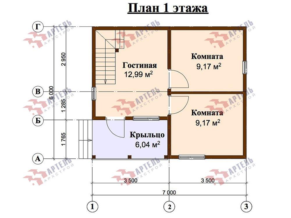 двухэтажный дом из профилированного бруса площадью до 100 кв. м. с  мансардой, проект Вариант 6 Д фотография 5789