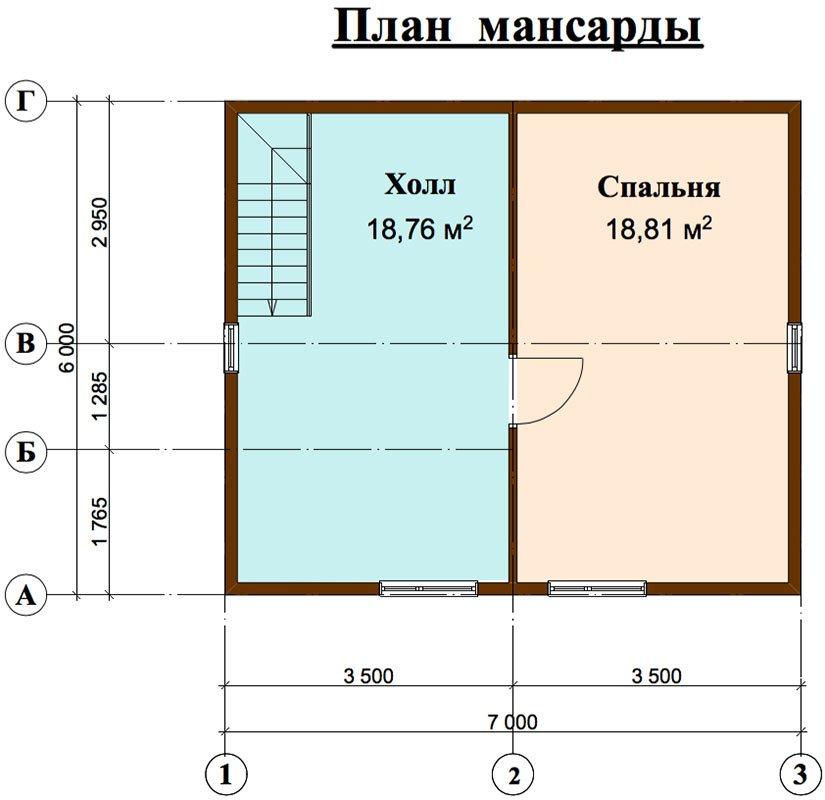 двухэтажный дом из профилированного бруса площадью до 100 кв. м. с  мансардой, проект Вариант 6 Д фотография 4443