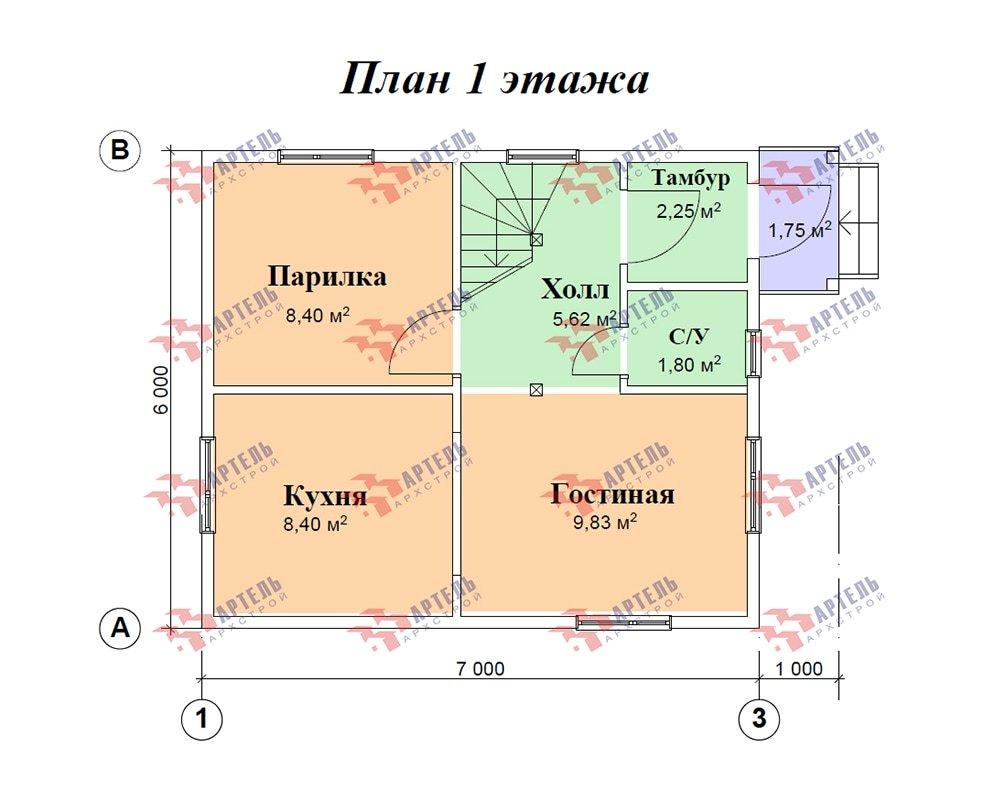 двухэтажный дом из профилированного бруса площадью до 100 кв. м. с  мансардой, проект Вариант 6 Г фотография 4862
