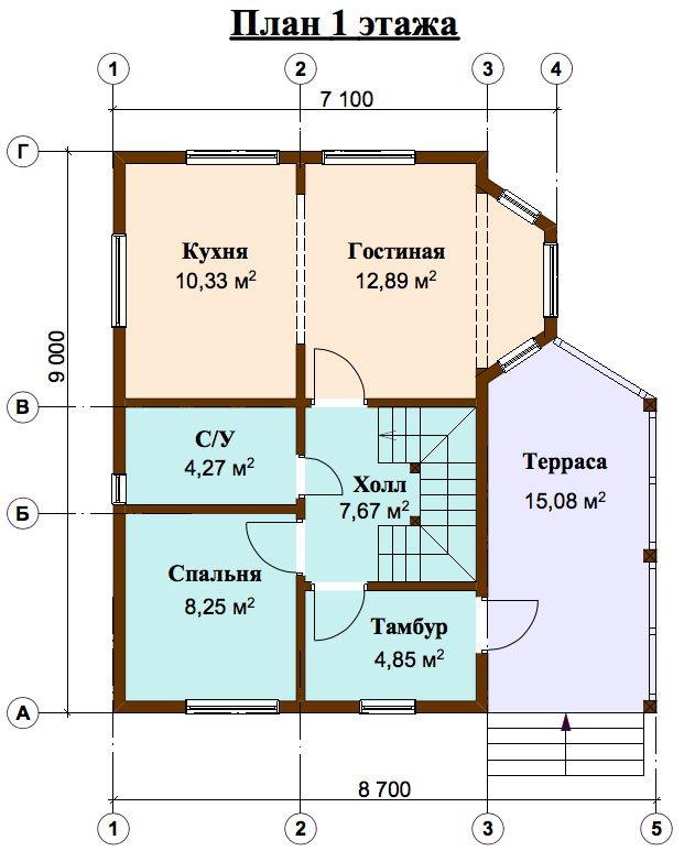 двухэтажный дом из профилированного бруса площадью от 100 до 150 кв. м. с  верандой, мансардой, эркером, проект Вариант 6 Л фотография 4454