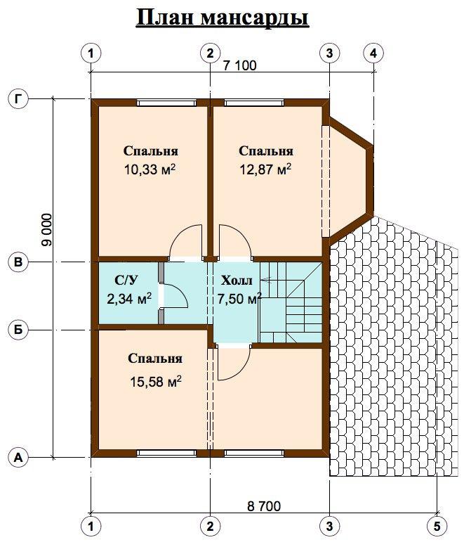 двухэтажный дом из профилированного бруса площадью от 100 до 150 кв. м. с  верандой, мансардой, эркером, проект Вариант 6 Л фотография 4455