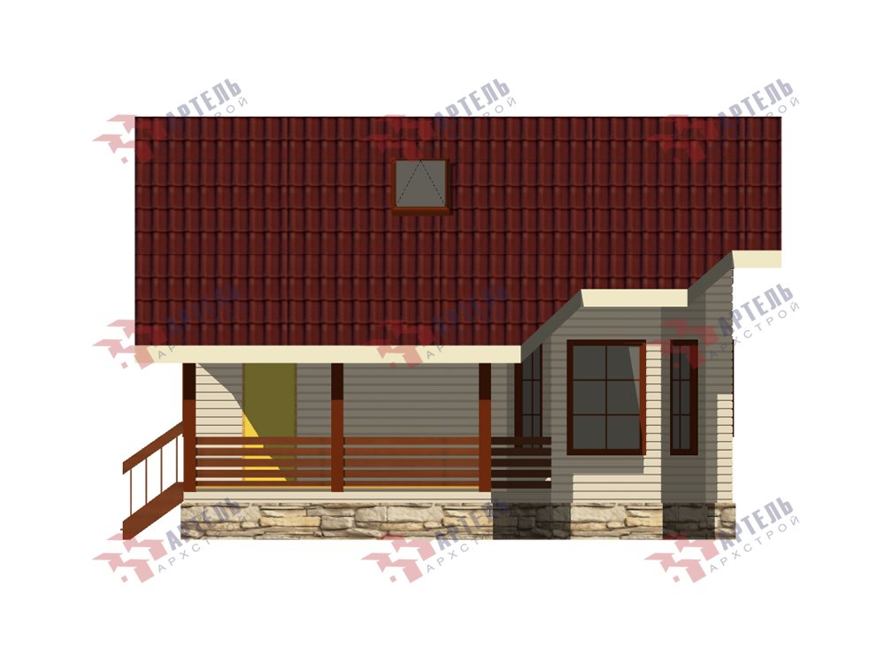 двухэтажный дом из профилированного бруса площадью от 100 до 150 кв. м. с  верандой, мансардой, эркером, проект Вариант 6 Л фотография 5894