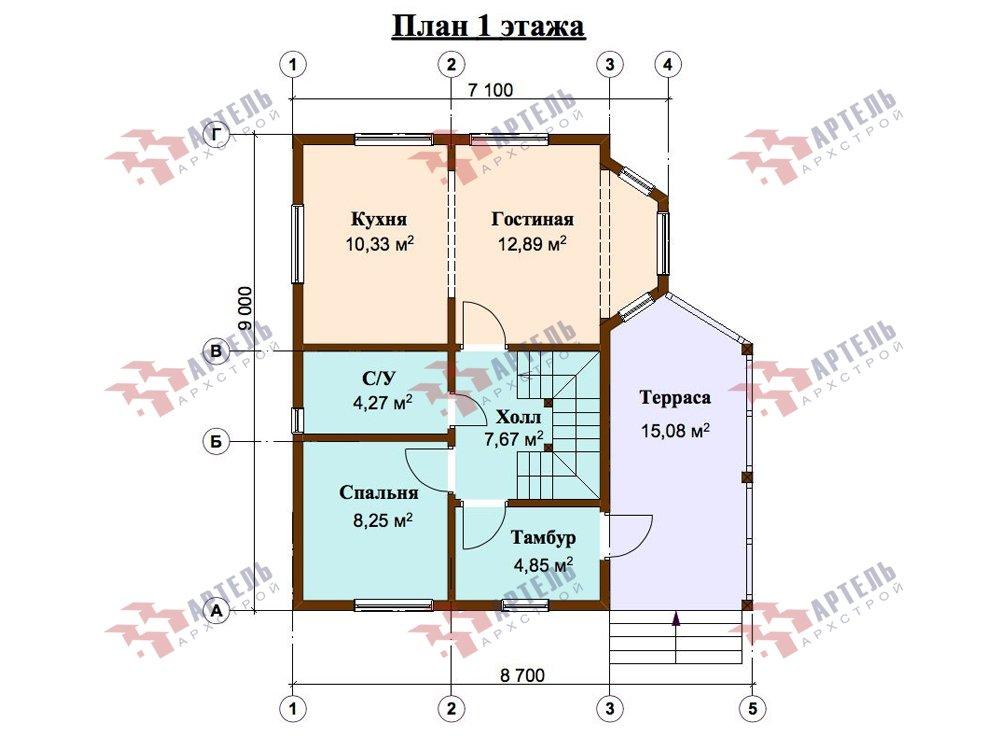 двухэтажный дом из профилированного бруса площадью от 100 до 150 кв. м. с  верандой, мансардой, эркером, проект Вариант 6 Л фотография 5895