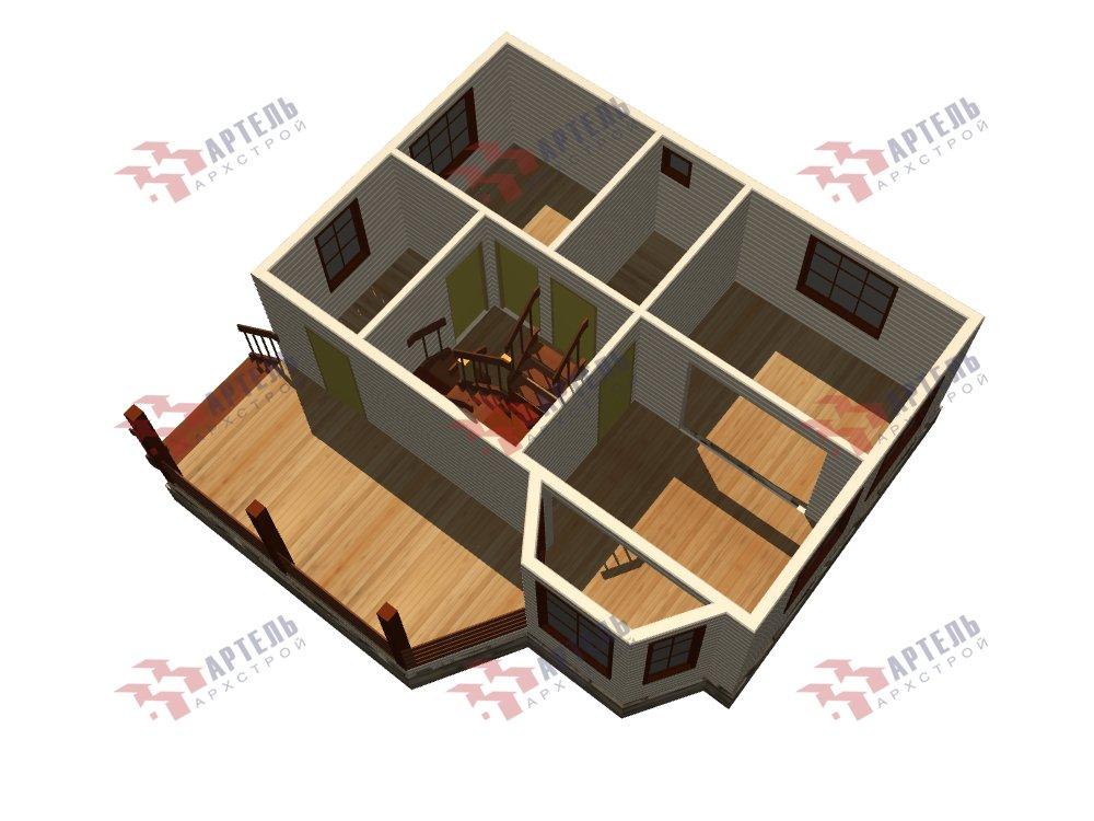 двухэтажный дом из профилированного бруса площадью от 100 до 150 кв. м. с  верандой, мансардой, эркером, проект Вариант 6 Л фотография 5897