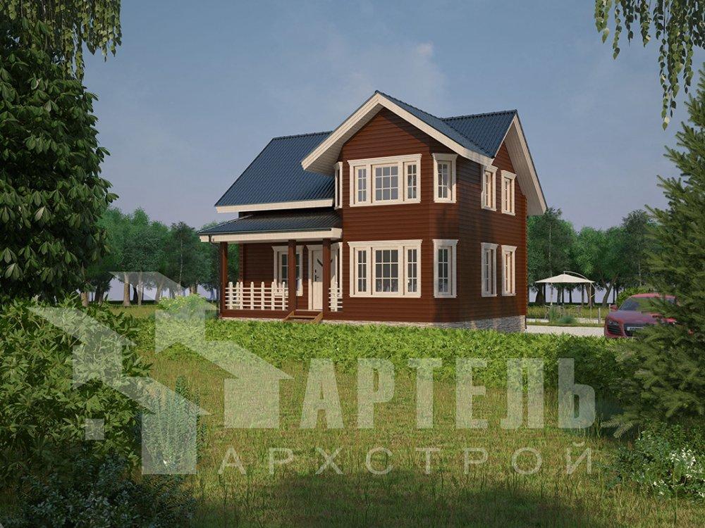 двухэтажный дом из профилированного бруса площадью от 100 до 150 кв. м. с  мансардой, эркером, проект Вариант 7.2 К фотография 4417