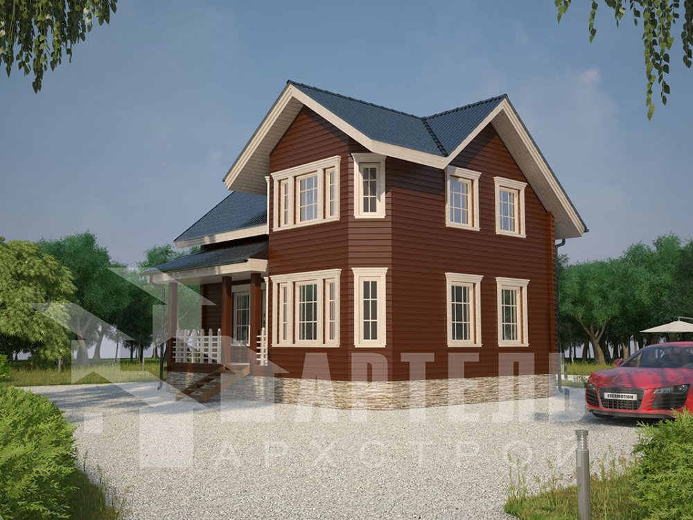 двухэтажный дом из профилированного бруса площадью от 100 до 150 кв. м. с  мансардой, эркером, проект Вариант 7.2 К фотография 4418