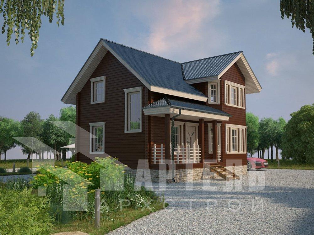 двухэтажный дом из профилированного бруса площадью от 100 до 150 кв. м. с  мансардой, эркером, проект Вариант 7.2 К фотография 4421