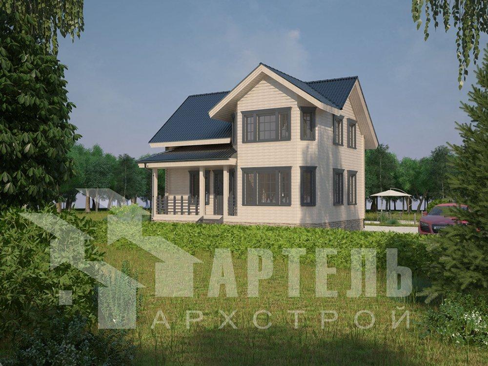 двухэтажный дом из профилированного бруса площадью от 100 до 150 кв. м. с  мансардой, эркером, проект Вариант 7.2 К фотография 4427