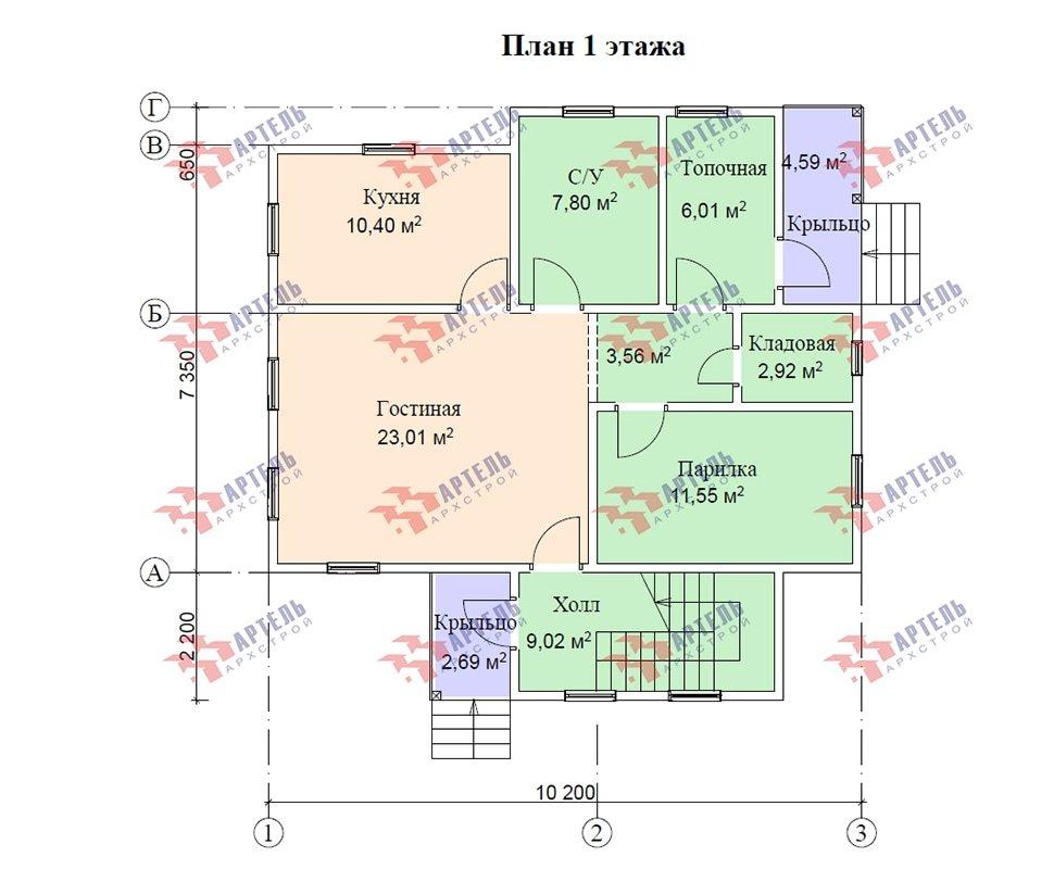 двухэтажный дом из профилированного бруса площадью от 100 до 150 кв. м. с  мансардой, проект Вариант 7.3 Б фотография 4884
