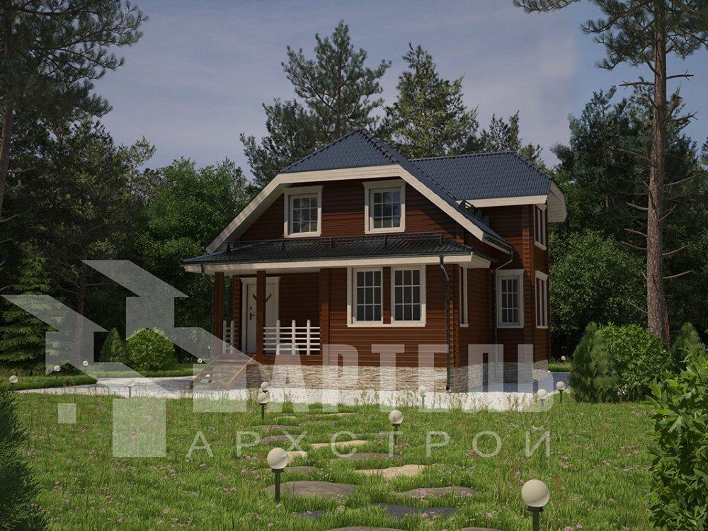 двухэтажный дом из профилированного бруса площадью от 100 до 150 кв. м. с  мансардой, эркером, проект Вариант 7.3 К фотография 4109