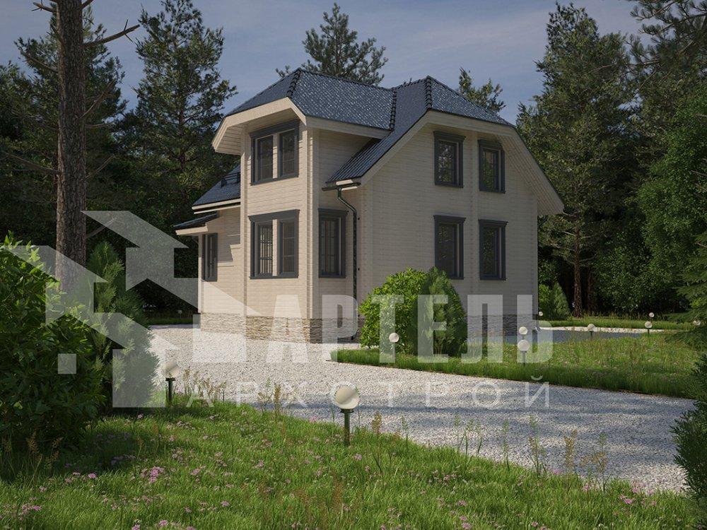 двухэтажный дом из профилированного бруса площадью от 100 до 150 кв. м. с  мансардой, эркером, проект Вариант 7.3 К фотография 4107