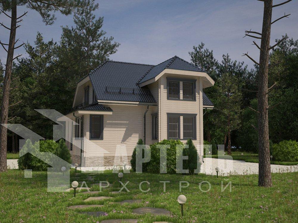 двухэтажный дом из профилированного бруса площадью от 100 до 150 кв. м. с  мансардой, эркером, проект Вариант 7.3 К фотография 4102