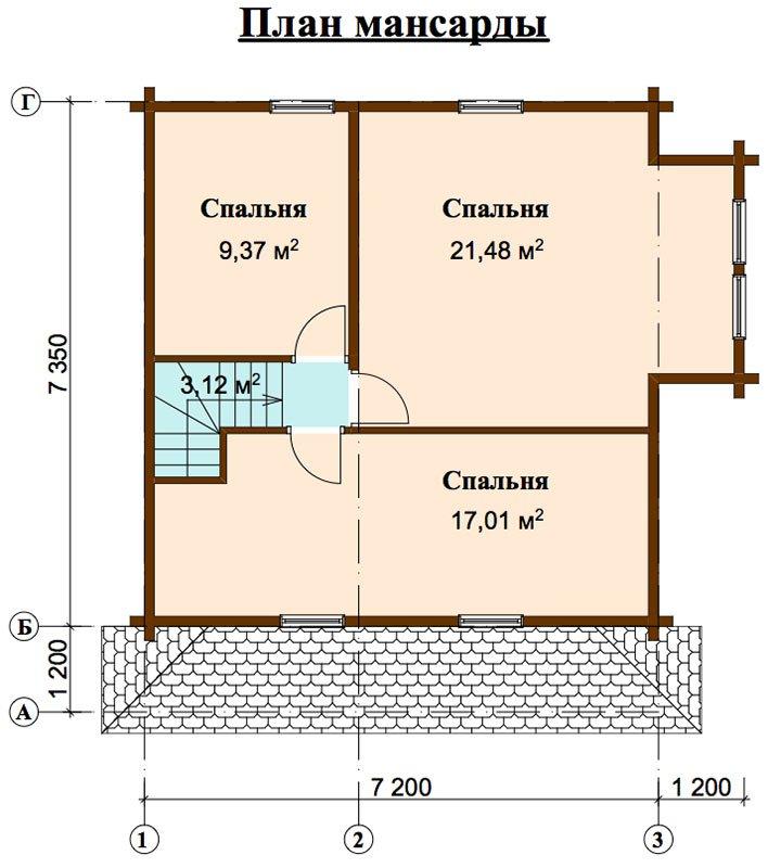 двухэтажный дом из профилированного бруса площадью от 100 до 150 кв. м. с  мансардой, эркером, проект Вариант 7.3 К фотография 4449