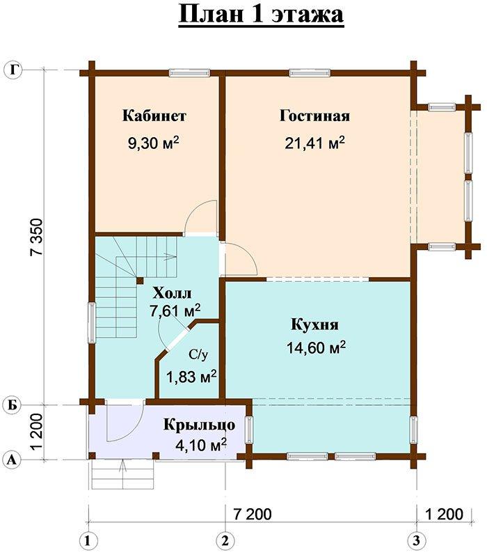 двухэтажный дом из профилированного бруса площадью от 100 до 150 кв. м. с  мансардой, эркером, проект Вариант 7.3 К фотография 4927