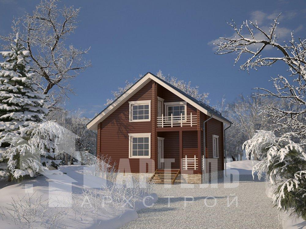 двухэтажный дом из профилированного бруса площадью до 100 кв. м. с  балконом, мансардой, проект Вариант 7.5 Д фотография 4099