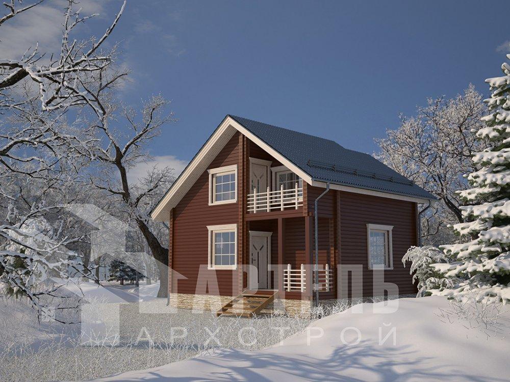 двухэтажный дом из профилированного бруса площадью до 100 кв. м. с  балконом, мансардой, проект Вариант 7.5 Д фотография 4098