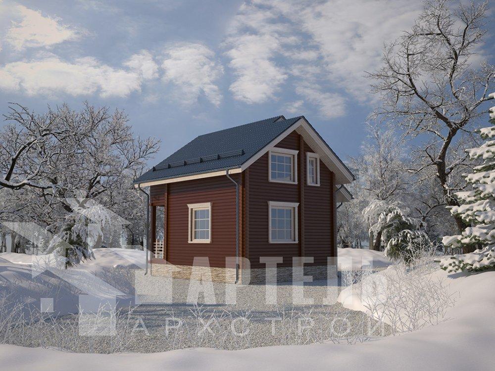 двухэтажный дом из профилированного бруса площадью до 100 кв. м. с  балконом, мансардой, проект Вариант 7.5 Д фотография 4097