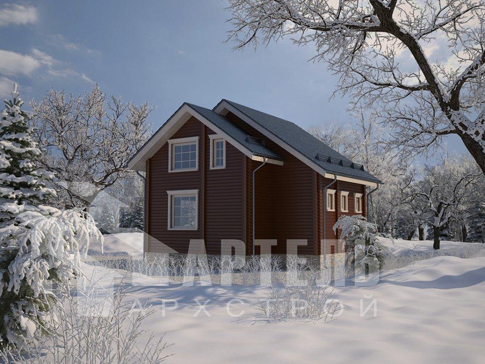 двухэтажный дом из профилированного бруса площадью до 100 кв. м. с  балконом, мансардой, проект Вариант 7.5 Д фотография 4096