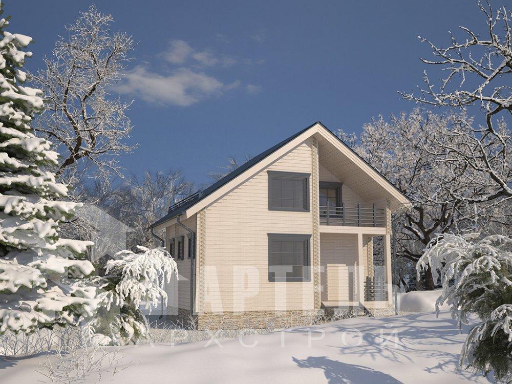 двухэтажный дом из профилированного бруса площадью до 100 кв. м. с  балконом, мансардой, проект Вариант 7.5 Д фотография 4094