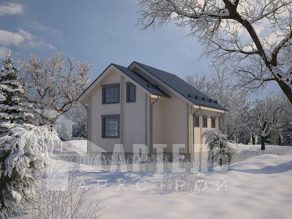 двухэтажный дом из профилированного бруса площадью до 100 кв. м. с  балконом, мансардой, проект Вариант 7.5 Д фотография 4090