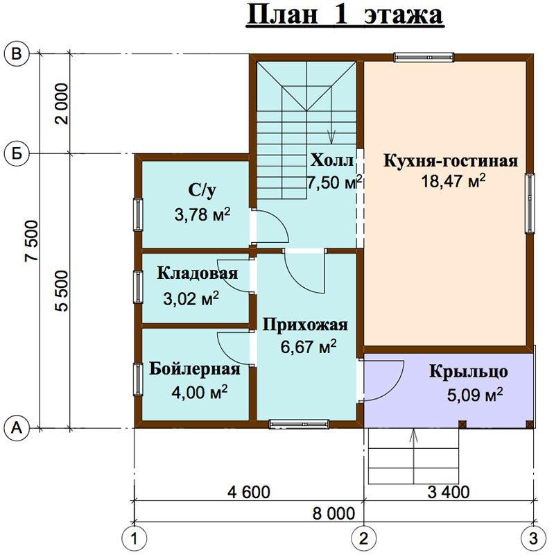 двухэтажный дом из профилированного бруса площадью до 100 кв. м. с  балконом, мансардой, проект Вариант 7.5 Д фотография 4445