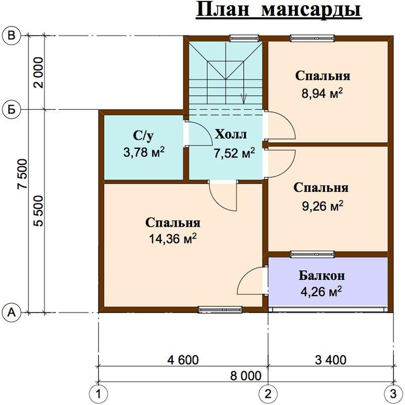двухэтажный дом из профилированного бруса площадью до 100 кв. м. с  балконом, мансардой, проект Вариант 7.5 Д фотография 4446