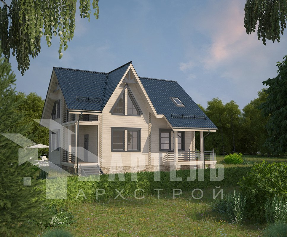 двухэтажный дом из профилированного бруса площадью от 150 до 200 кв. м. с  балконом, террасой, проект Вариант 7.7 А фотография 4173