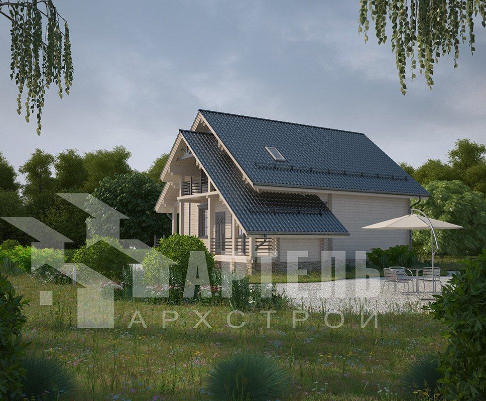 двухэтажный дом из профилированного бруса площадью от 150 до 200 кв. м. с  балконом, террасой, проект Вариант 7.7 А фотография 4176