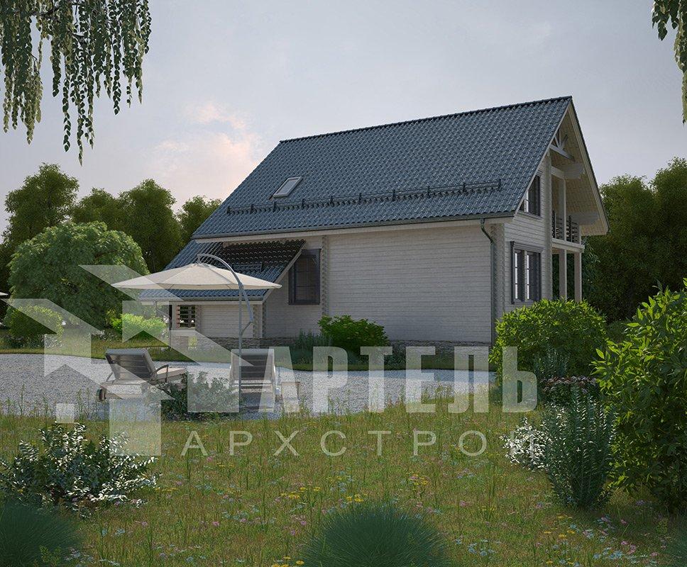 двухэтажный дом из профилированного бруса площадью от 150 до 200 кв. м. с  балконом, террасой, проект Вариант 7.7 А фотография 4177