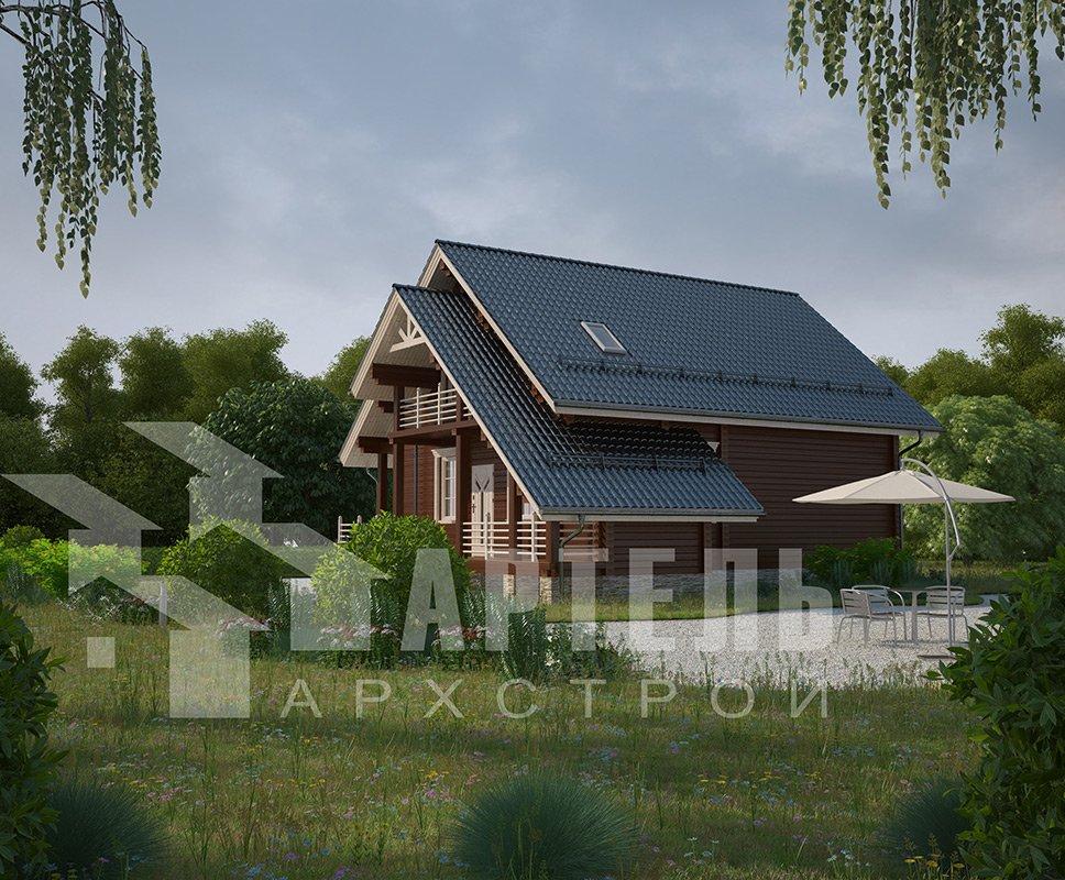 двухэтажный дом из профилированного бруса площадью от 150 до 200 кв. м. с  балконом, террасой, проект Вариант 7.7 А фотография 4182