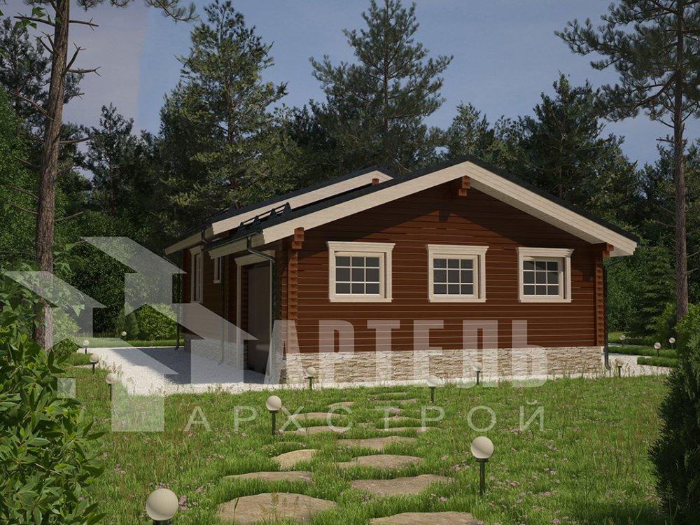 одноэтажный дом из профилированного бруса площадью до 100 кв. м. с  гаражом, террасой, проект Вариант 7.8 Б фотография 4152
