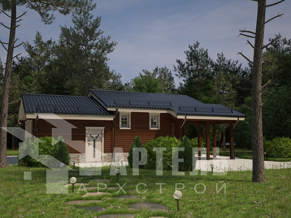 одноэтажный дом из профилированного бруса площадью до 100 кв. м. с  гаражом, террасой, проект Вариант 7.8 Б фотография 4154