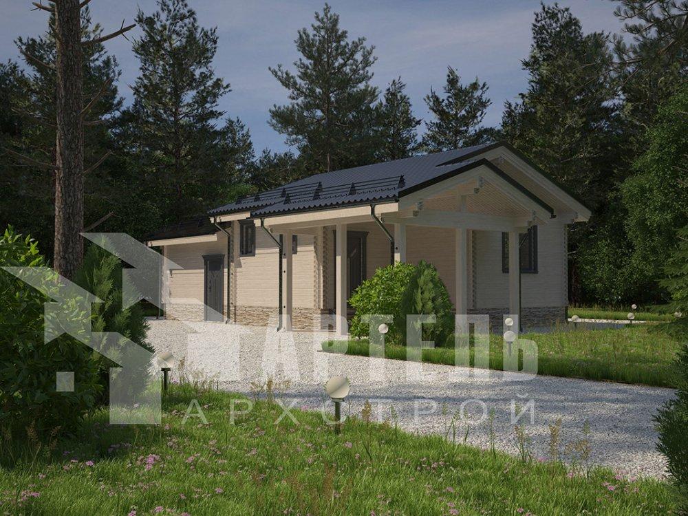 одноэтажный дом из профилированного бруса площадью до 100 кв. м. с  гаражом, террасой, проект Вариант 7.8 Б фотография 4155