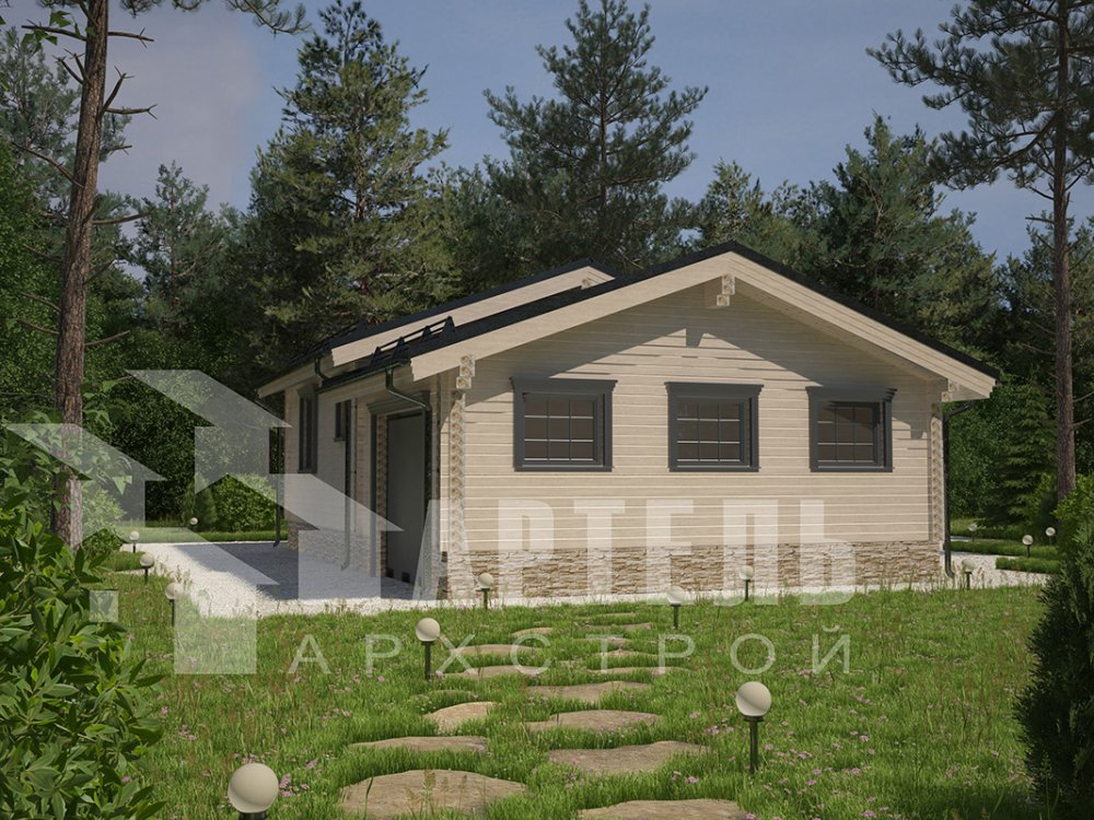 одноэтажный дом из профилированного бруса площадью до 100 кв. м. с  гаражом, террасой, проект Вариант 7.8 Б фотография 4158