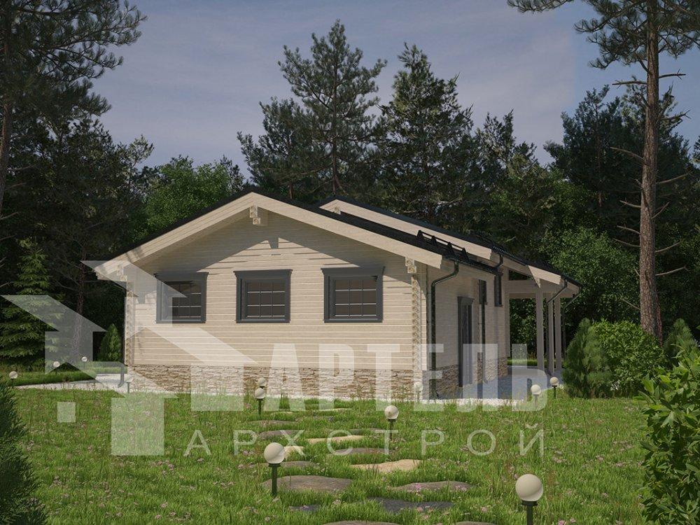 одноэтажный дом из профилированного бруса площадью до 100 кв. м. с  гаражом, террасой, проект Вариант 7.8 Б фотография 4159