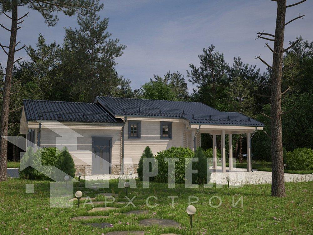 одноэтажный дом из профилированного бруса площадью до 100 кв. м. с  гаражом, террасой, проект Вариант 7.8 Б фотография 4160