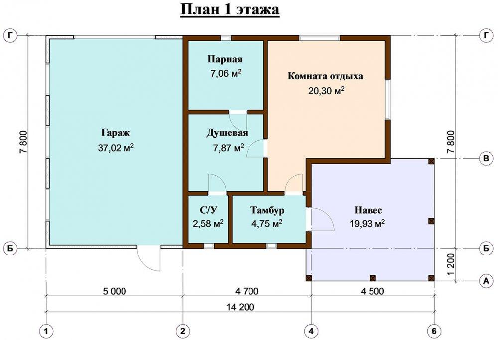 одноэтажный дом из профилированного бруса площадью до 100 кв. м. с  гаражом, террасой, проект Вариант 7.8 Б фотография 4667
