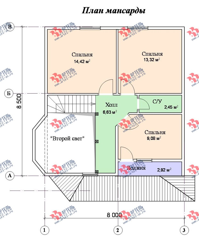 двухэтажный дом из бруса площадью от 100 до 150 кв. м. с  балконом, мансардой, террасой, эркером, проект Вариант 8.5 И фотография 1030
