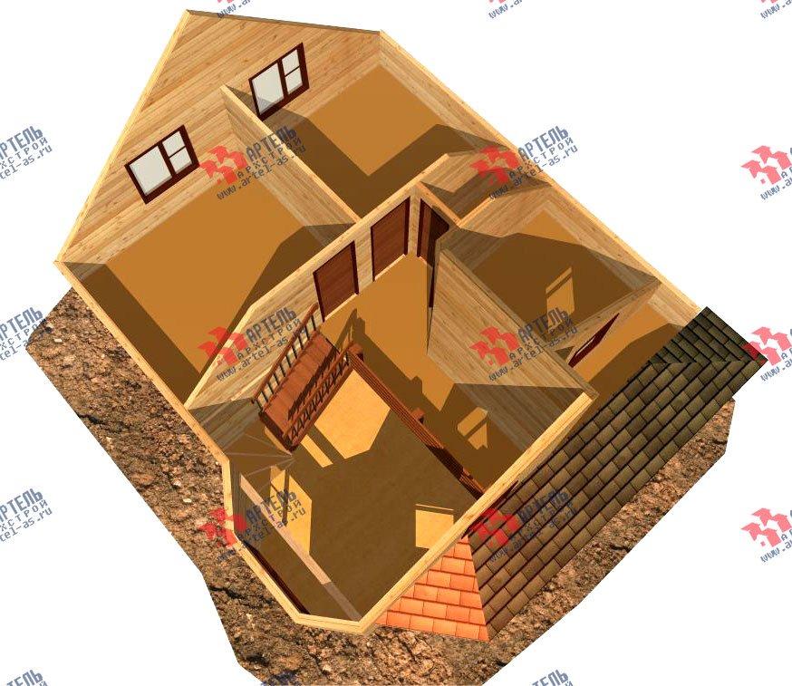 двухэтажный дом из бруса площадью от 100 до 150 кв. м. с  балконом, мансардой, террасой, эркером, проект Вариант 8.5 И фотография 1028