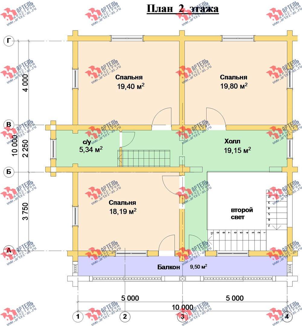 трёхэтажный дом из оцилиндрованного бревна площадью свыше 200 кв. м. с  балконом, террасой, проект Вариант 5 фотография 3086
