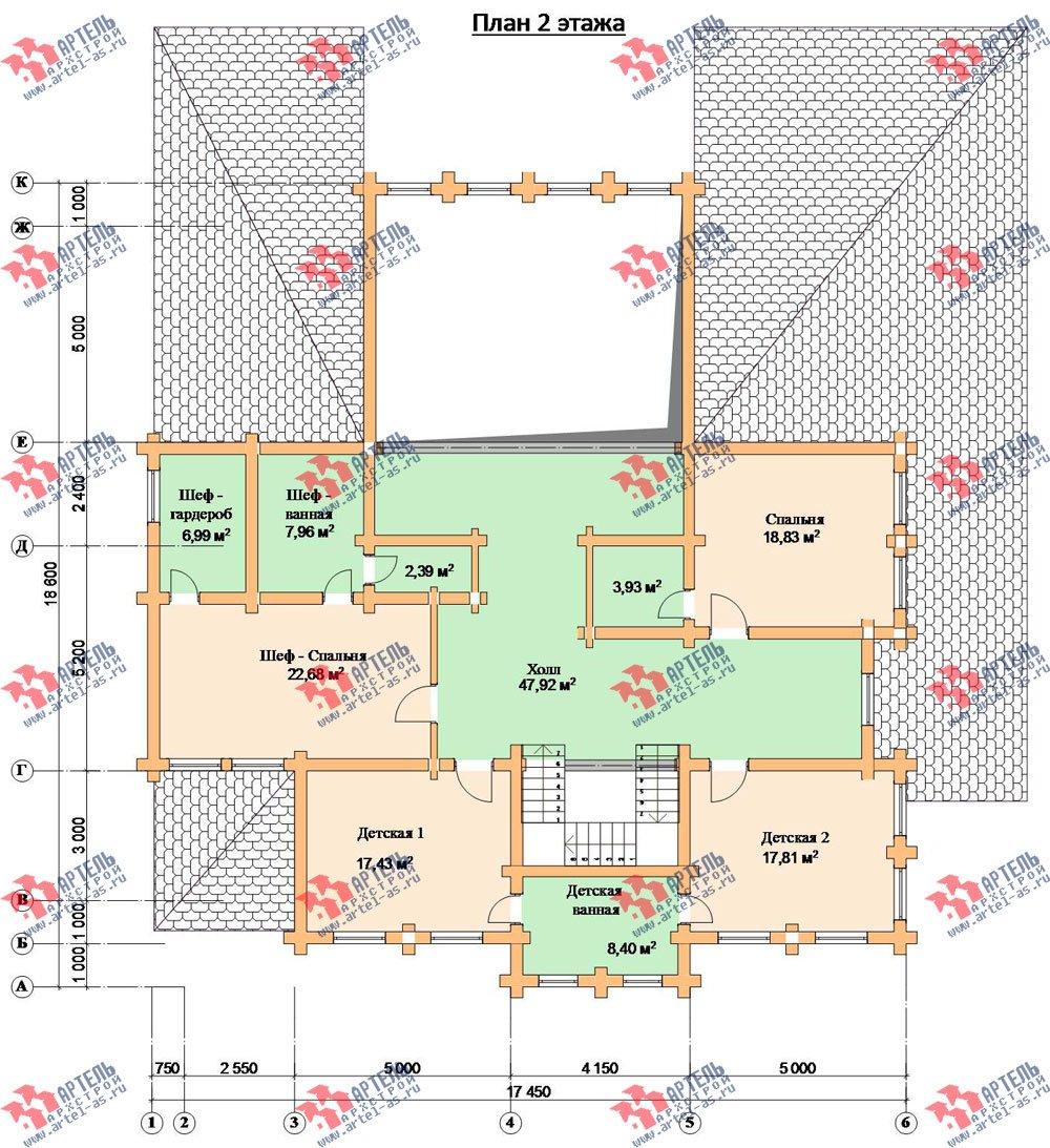 двухэтажный дом из оцилиндрованного бревна площадью свыше 200 кв. м. с  террасой, проект Вариант 8 фотография 3121