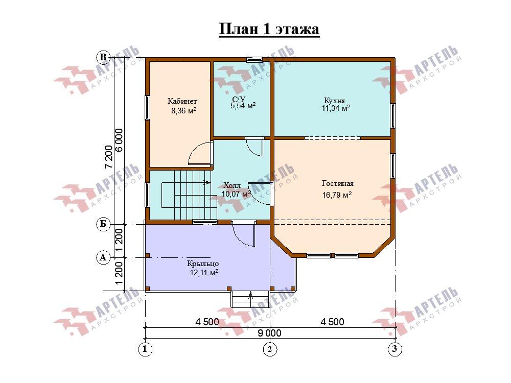 двухэтажный дом из профилированного бруса площадью от 100 до 150 кв. м. с  мансардой, эркером, проект Вариант 7.2 К фотография 5851