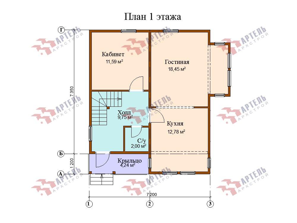 двухэтажный дом из профилированного бруса площадью от 100 до 150 кв. м. с  мансардой, эркером, проект Вариант 7.3 К фотография 5883