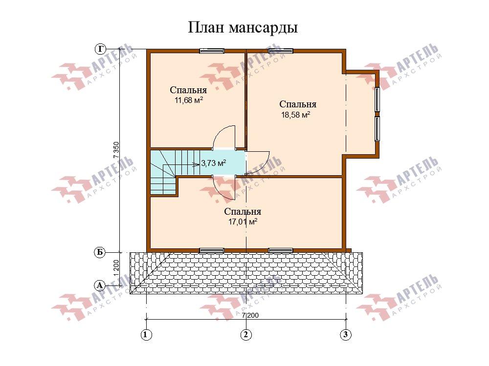 двухэтажный дом из профилированного бруса площадью от 100 до 150 кв. м. с  мансардой, эркером, проект Вариант 7.3 К фотография 5884